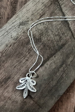 "Silver Linings ""Leaf"" Silver Filigree Handmade Pendant and Chain"