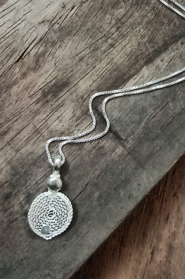 Silver Linings Lotus Handmade Silver Filigree Chain With Pendant Online