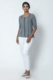 Lava Grey Front Placket Shirt with Pleats