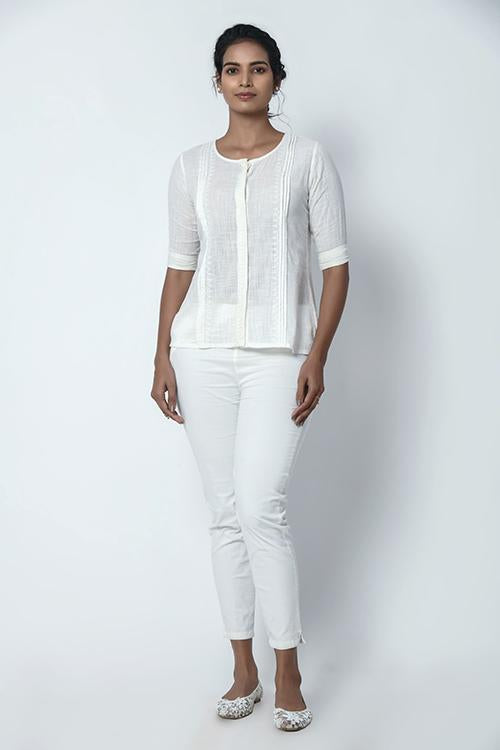 Ivory White Front Placket Shirt with Pleats