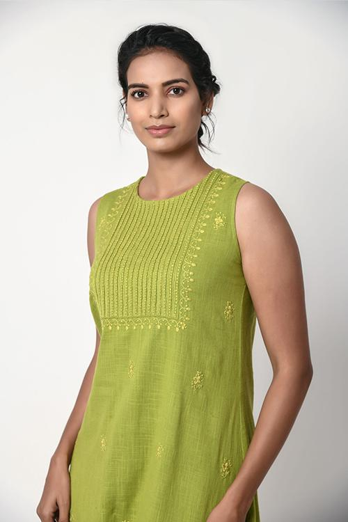 Mint Green Sleeveless Dress With Chikankari Embroidery