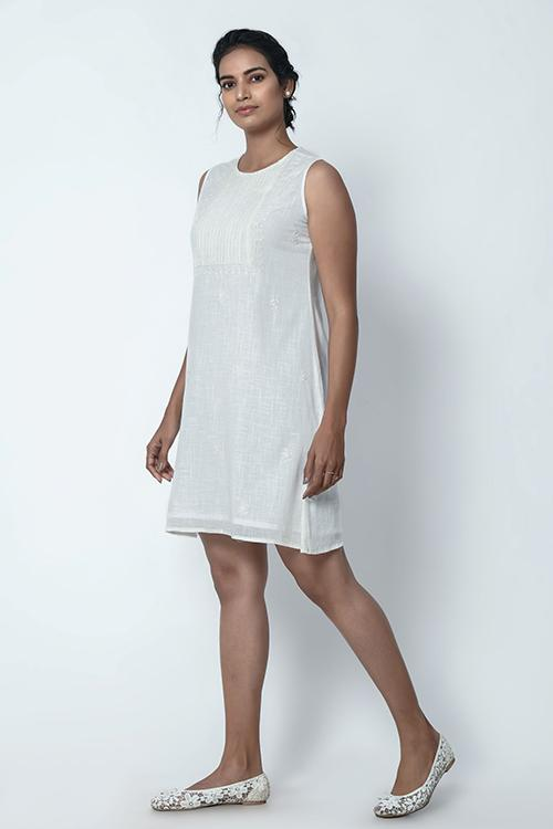 Okhai Ivory White Sleeveless Dress For Women Online