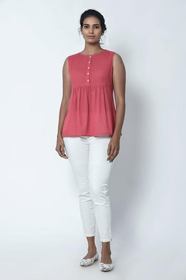 Dusty Pink Pintuck Top