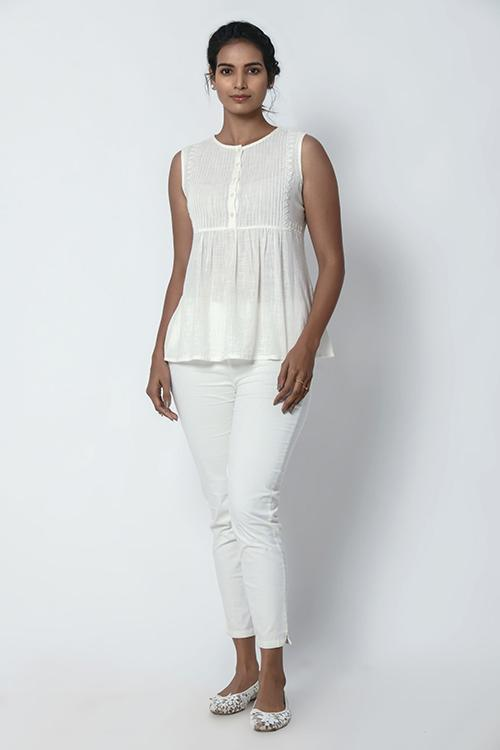 Ivory White Pintuck Top