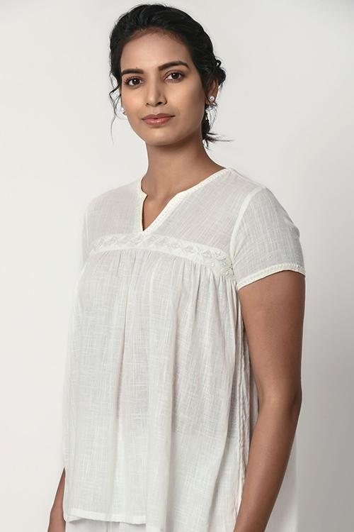 Ivory White Gathered Top