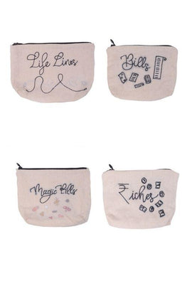 Okhai 'Quintessencia' Cotton Hand Embroidered Pouch Set