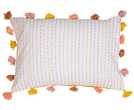 Okhai Multi Coloured Katha Work Pillow Cover