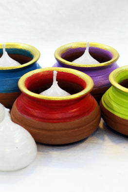 "Craftlipi Pot ""HANDI"" Terracotta Candle Holder Set Of 4"