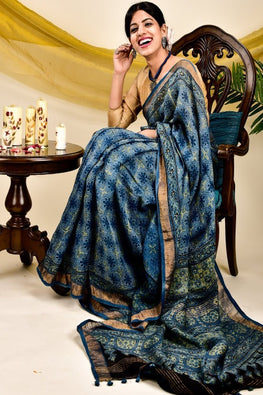 Pure & Soft Linen Ajrakh Saree with Dull Zari Border (With Blouse Piece)