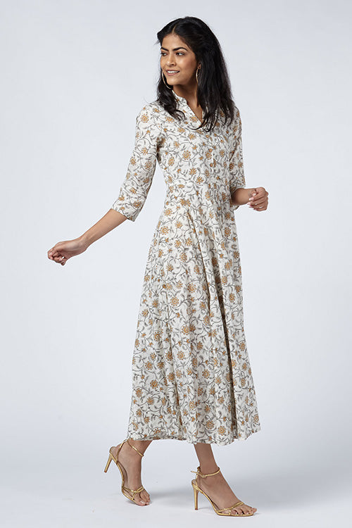 Okhai 'Reverie' Cotton Hand Block Print Dress