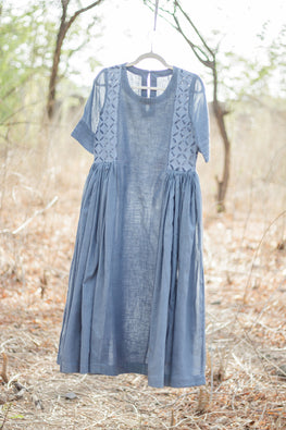 Grey H/S Cutwork Cotton Kediya Long Kurta