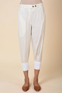 Kora Cuff Pants with Cutwork Emb Hem