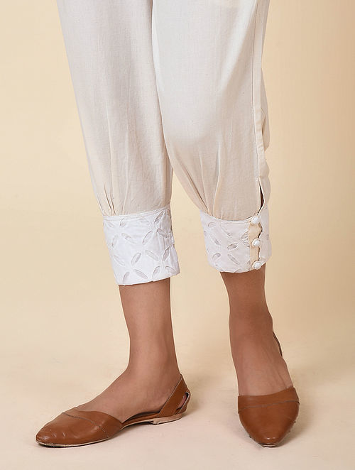Kora Cuff Pants with Cutwork Embroidery Hem