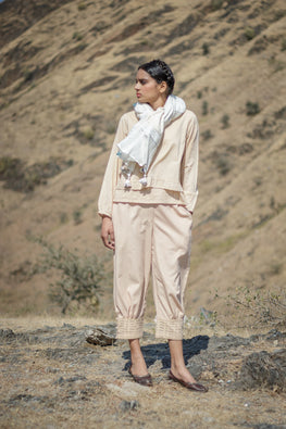 Beige Cuff Pants with Cutwork Emb Hem