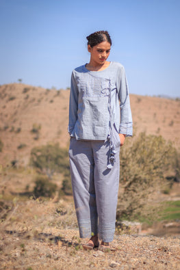 Grey Straight pants with hem emb panel