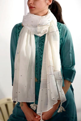 Off White Multi cotton Fabric panelled Stole