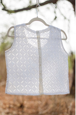 Kora S/L Cutwork crop top with back buttons