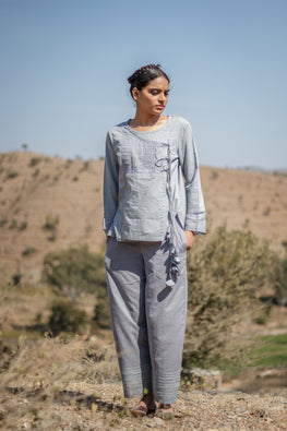 Grey 3Q Slv Cotton Angrakha to