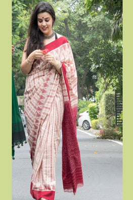 Traditional Red And Off White Cotton Ikkat Saree Online
