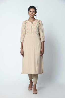 Beige with Pleats and Dessert Embroidered Kurta For Women Online