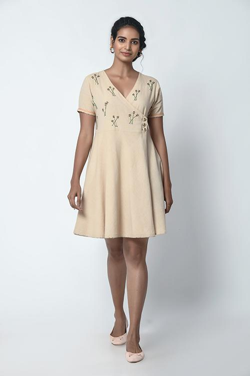 Okhai Overlap Embroidered Dress For Women Online