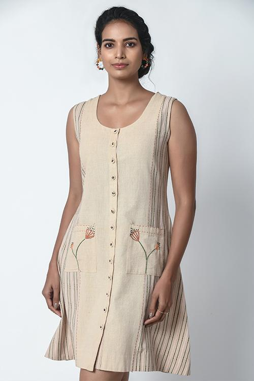 Beige and Dobby Stripe Panel Front Placket Dress