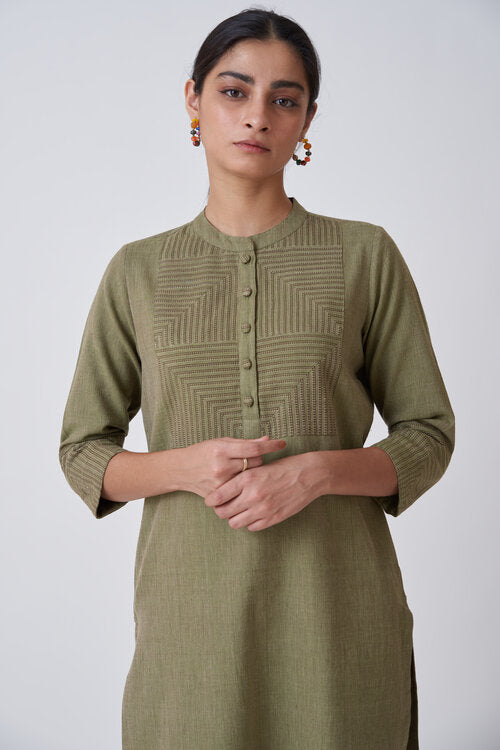 Olive Kurta with Patterned Yoke