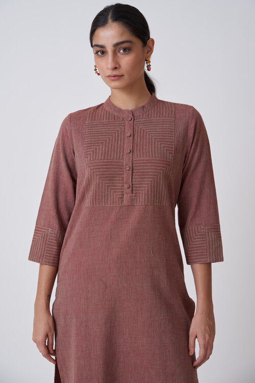 Burgundy Kurta with Patterned Yoke