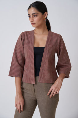 Okhai Burgundy Short Jacket For Women Online
