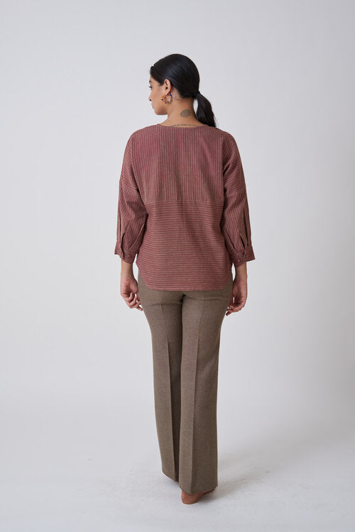 Burgundy V neck Top with Drop Shoulders