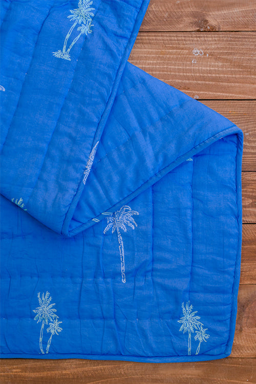 Okhai White Chime Hand Block Printed Pure Cotton Quilt Online