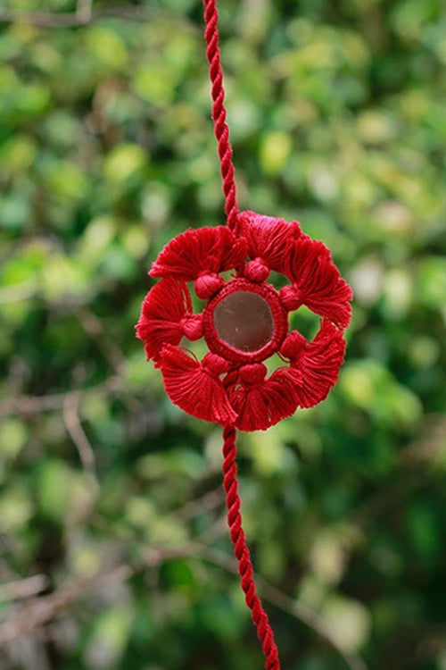 Okhai 'The Angel' Red Tassels Mirror Rakhi