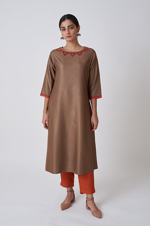 Olive Brown Boat Neck Embroidered Kurta