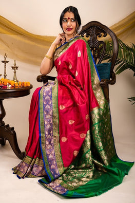 Regal elegence. Pure Banarasi Kattan Buta Saree