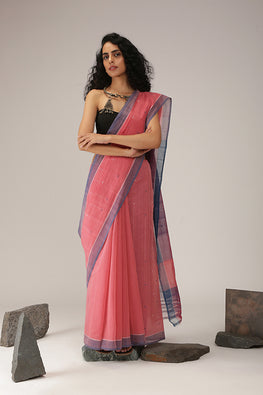 Buta cotton Handloom saree - Light Pink
