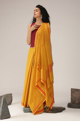 Carnation cotton Dobby Handloom saree