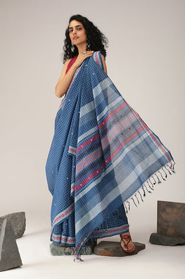 Okhai Diamond Dance Checks Cotton Handloom Saree Online