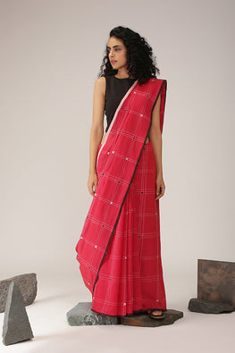 Okhai Handspun Pixel Flower Pink Cotton Handlloom Saree Online