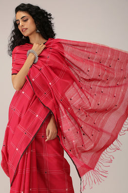 Hand-spun Pixel Flower Cotton Handloom Saree - Pink