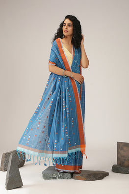 Okhai Handspun Square Checks Jamdani Cotton Saree Online