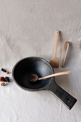 Terracotta by Sachii Longpi Black Pottery Deep Frying Pan