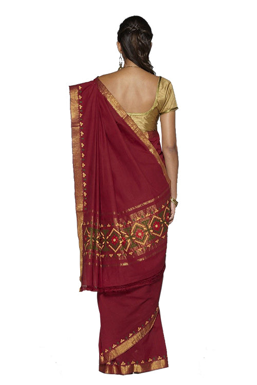Okhai Maroon Mangalgiri Cotton Saree
