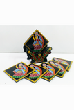 Tikuli-Art-Hand-Painted-Round-and-Square-Coaster-set-of-six-with-Stand-4