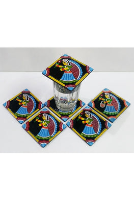Tikuli-Art-Hand-Painted-Round-and-Square-Coaster-set-of-six-with-Stand-13