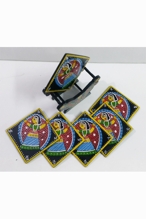 Tikuli-Art-Hand-Painted-Round-and-Square-Coaster-set-of-six-with-Stand-14