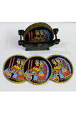 Tikuli-Art-Hand-Painted-Round-and-Square-Coaster-set-of-six-with-Stand-17