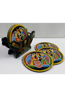 Tikuli-Art-Hand-Painted-Round-and-Square-Coaster-set-of-six-with-Stand-18