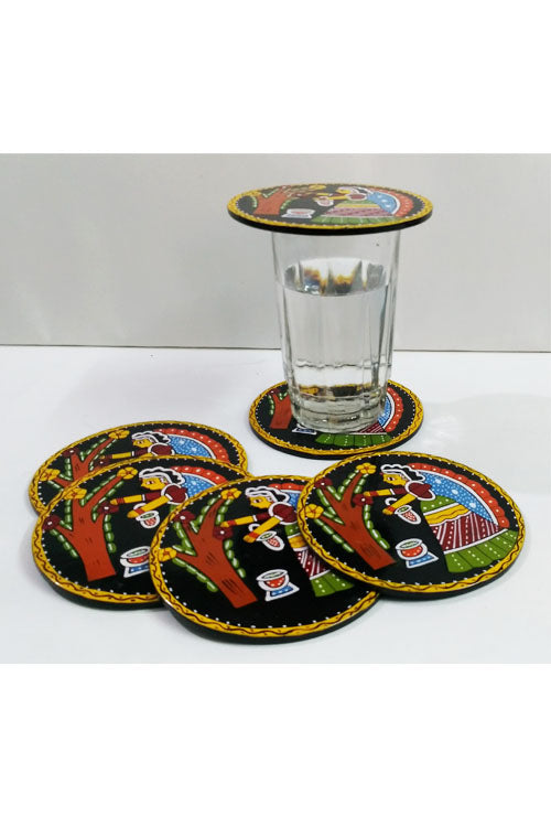 Tikuli-Art-Hand-Painted-Round-and-Square-Coaster-set-of-six-with-Stand-22