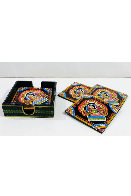 Tikuli-Art-Hand-Painted-Round-and-Square-Coaster-set-of-six-with-Stand-23
