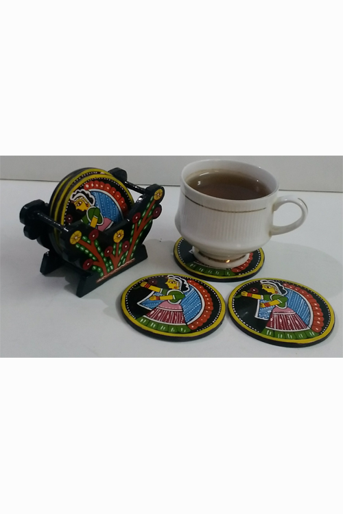 Tikuli-Art-Hand-Painted-Round-and-Square-Coaster-set-of-six-with-Stand-26